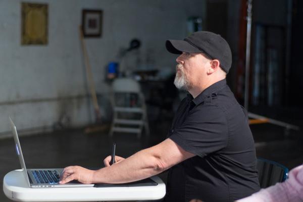 Illustrators of the Future Judge, Cliff Nielsen in his studio.