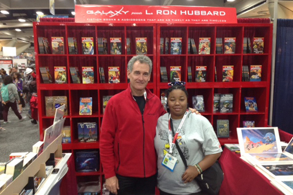 John Goodwin from Galaxy Press with Brittany Jackson at Comic-Con 2015
