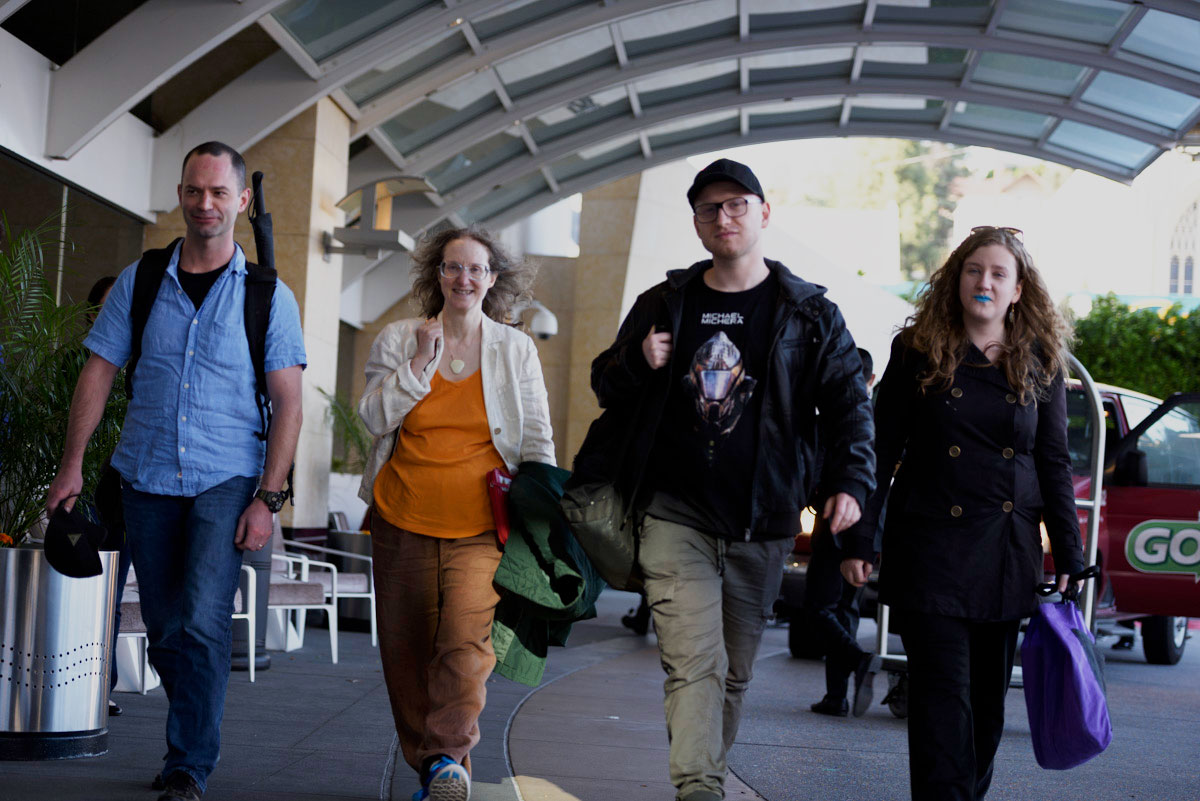 Stephen Lawson, Ziporah Hildebrandt, Michael Michera and C.L. Kagmi arriving at the hotel for the workshop.
