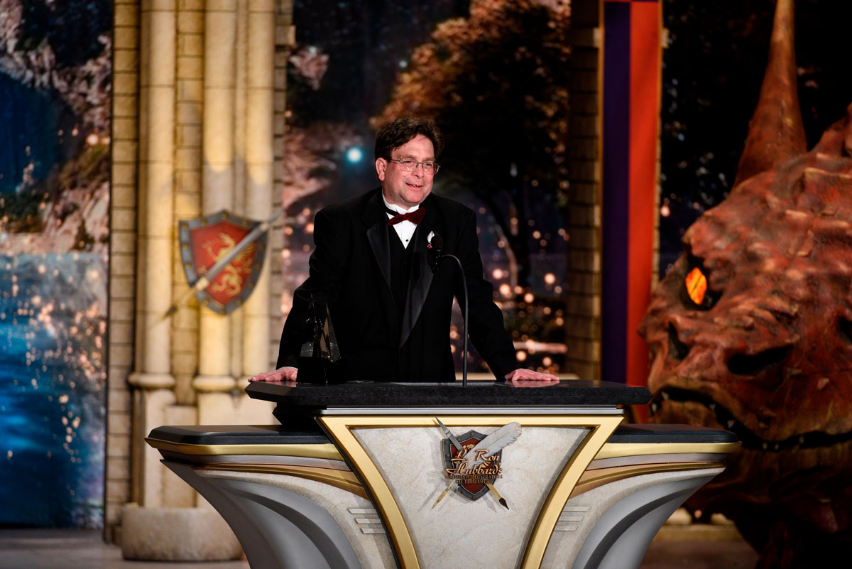On stage at the Wilshire Ebell Theatre in Los Angeles, accepting his award