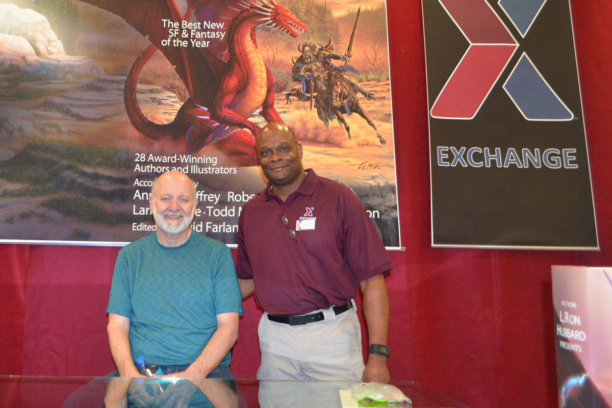 David Farland with Lawrence Simmons Jr, General Manager of the Nellis AFB Exchange