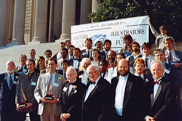 Contest winners and judges on the steps of the National Archives following the ceremony.