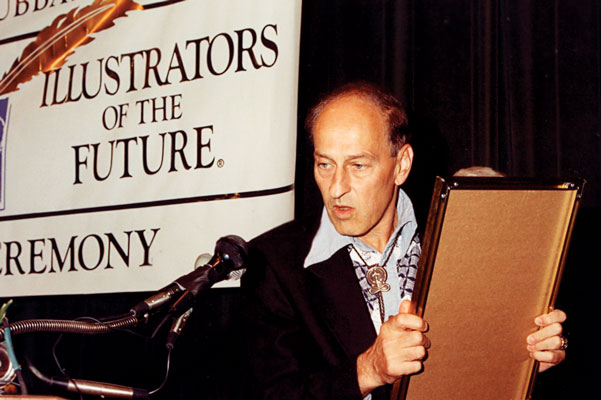 Contest judge Roger Zelazny about to present the next award.