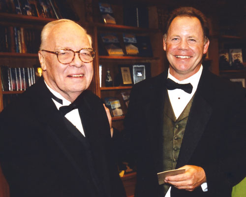 Writer judge Hal Clement with winner Tim Myers.