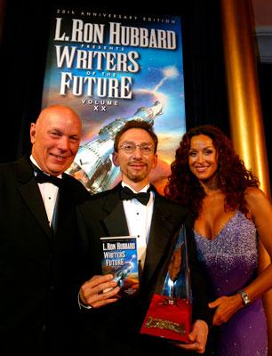 Astronaut Story Musgrave, Golden Pen winner William T. Katz and actress Sofia Milos.