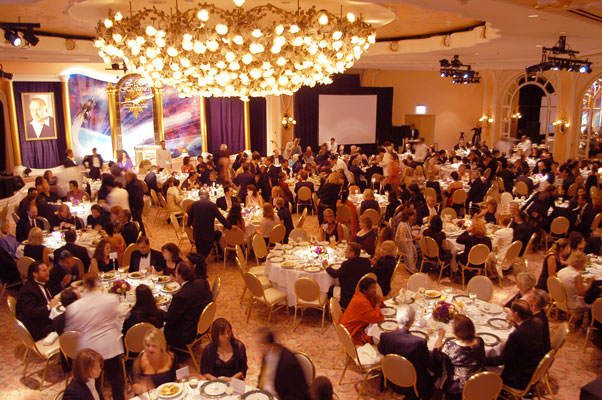 The pre-Awards banquet at the fabulous Crystal Ballroom in the Beverly Hills Hotel.