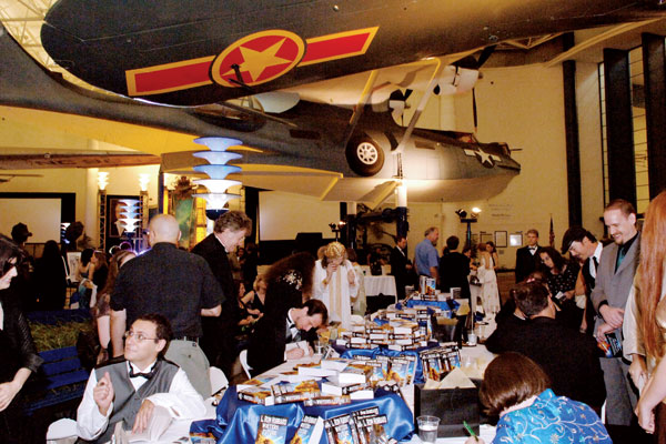 The book-signing reception at the San Diego Aerospace Museum.