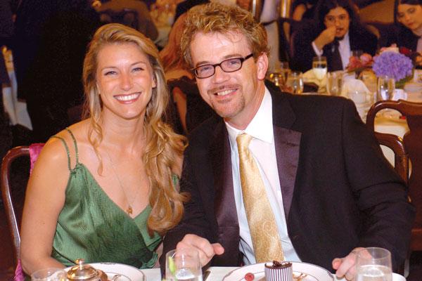 Actress Wendy Carter and award-winning audiobook narrator Scott Brick at the pre-Awards banquet.