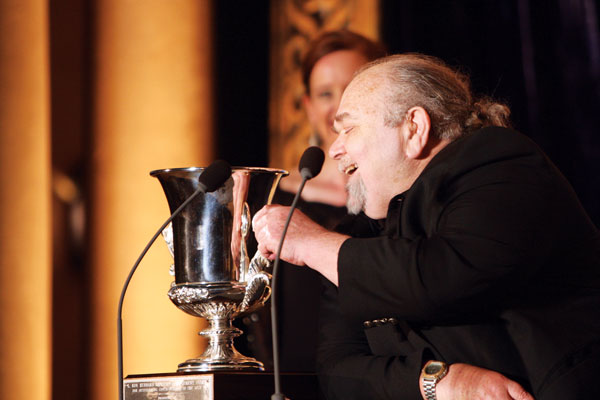 Locus publisher Charles N. Brown receives his Lifetime Achievement Award.