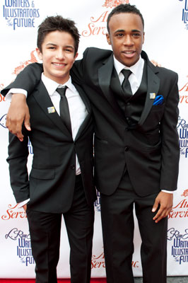 "Guest presenters actors Aramis Knight and Khylin Rhambo from ""Ender's Game."""