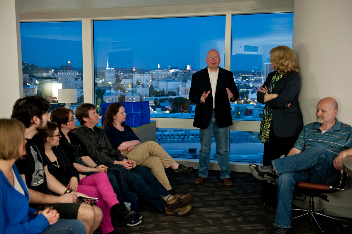 Meeting with the winning writers at the Loews Hotel in Hollywood.