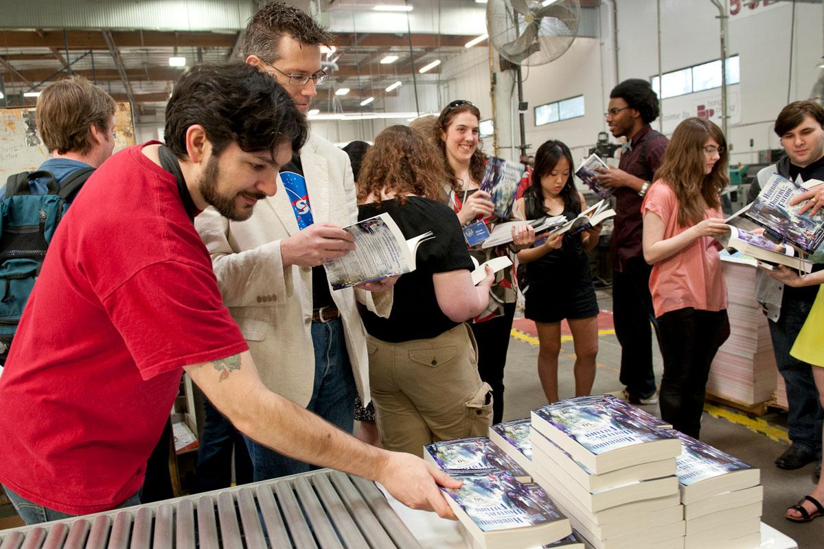 C Stuart Hardwick at Bang Printing seeing book