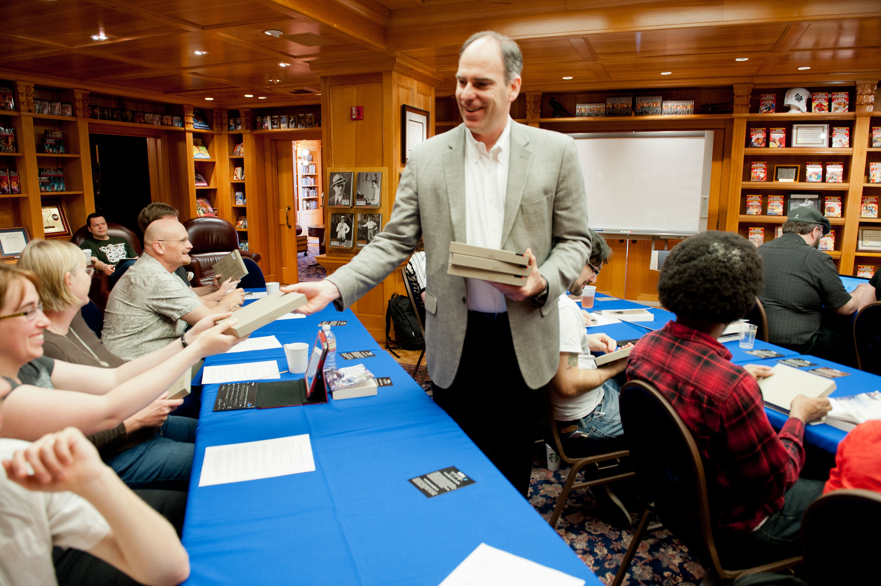 Director of Author Relations Kobo, Inc. Mark Lefebvre passing out new Kobo's to the winners