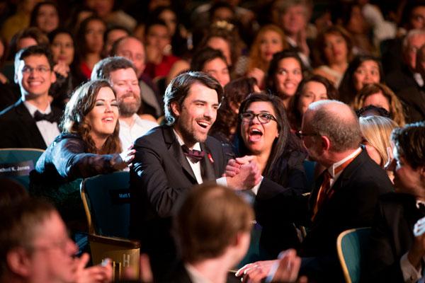 Matt Dovey reacts when he is announced as the Gold Pen Award winner.