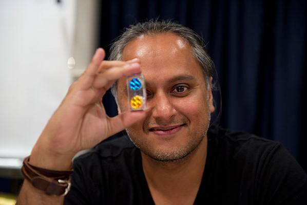 Amit Dutta shows off the object for his illustration