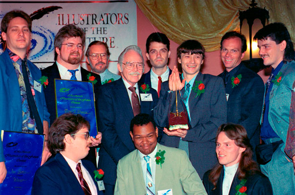 Frank Kelly Freas (center) with Illustrator Contest winners.