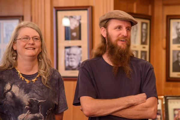 Julie Frost and Stewart Baker in the Writers of the Future Library.