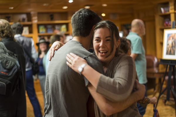 Rachael Jones giving her illustrator a big hug.