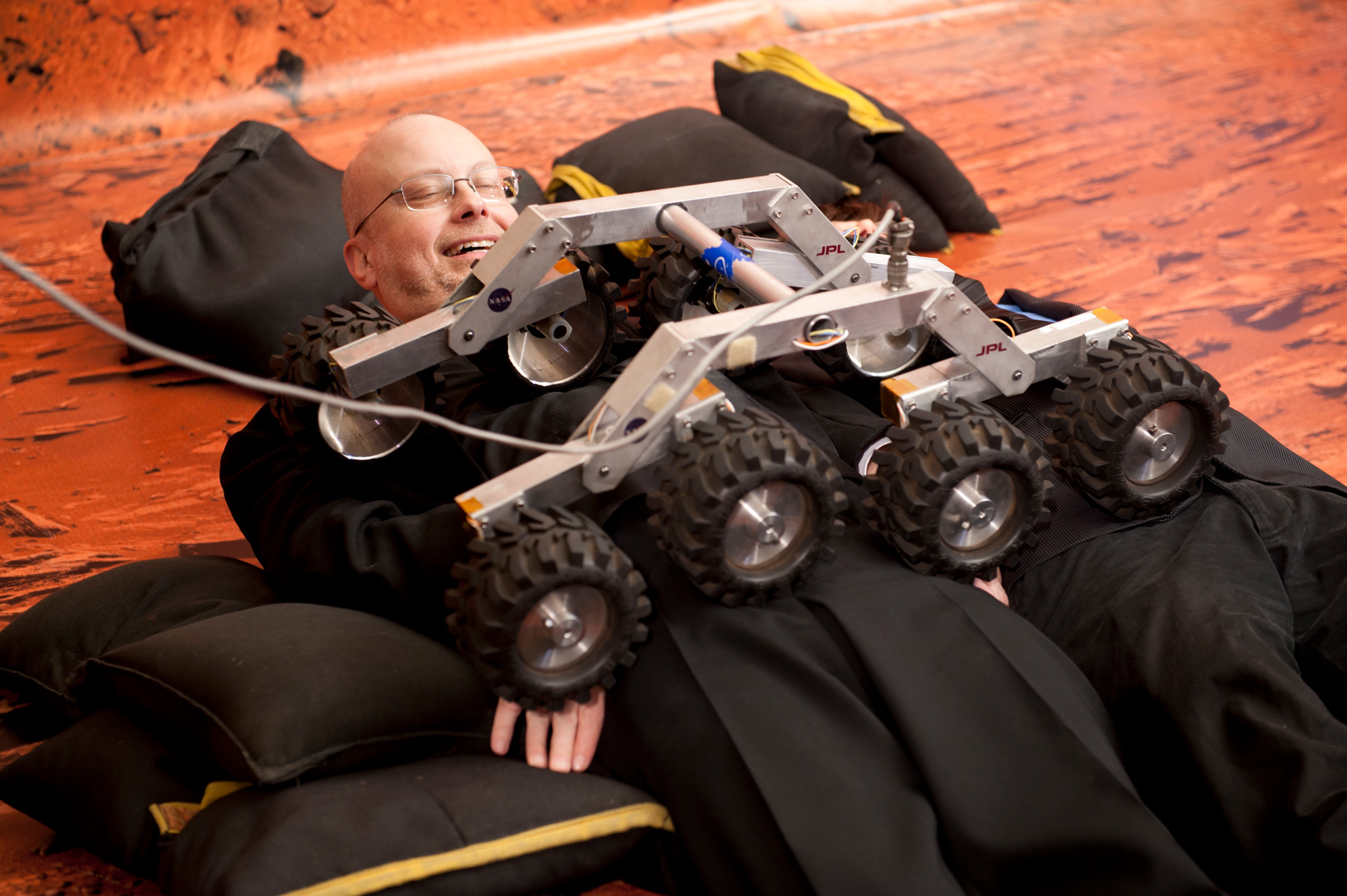 At Writers of the Future Volume 29 release event, one of the Mars Rover prototypes was driven over Rob Sawyer.