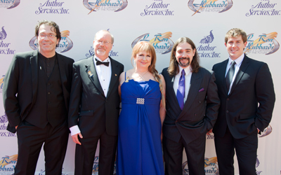 WordFire Press on the red carpet. Left to right: Peter Wacks, Kevin J. Anderson, Rebecca Moesta, Alexi Vanderberg and Josh Vogt