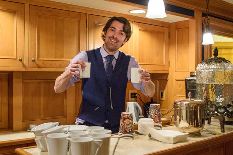 Matt Dovey with a cuppa tea
