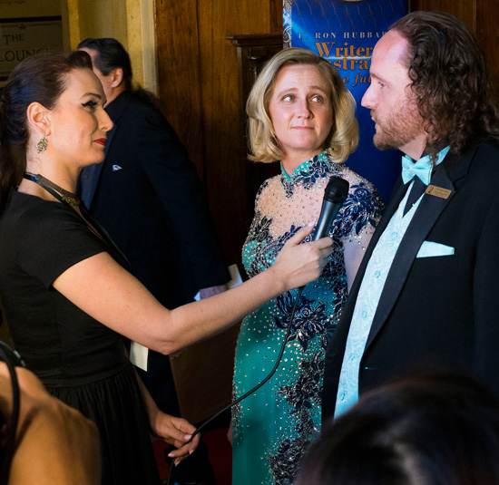 Darci Stone and Eric James Stone being interviewed at the 2018 Writers of the Future Awards Event.