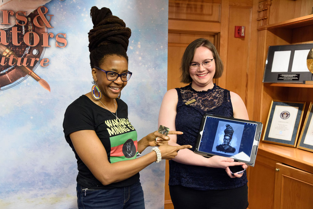 Jennifer Ober presents illustration of Nnedi Okorafor
