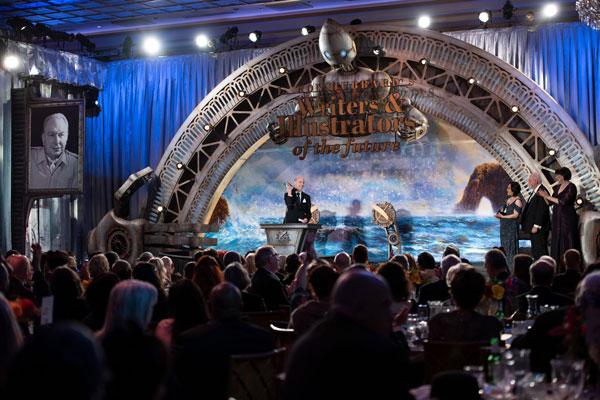 Preston giving acceptance speech on stage
