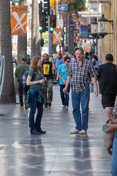 Mica meeting a stranger on Hollywood Blvd