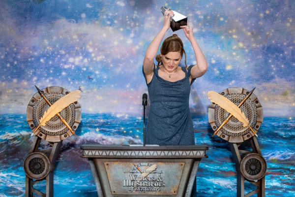 Receiving her trophy
