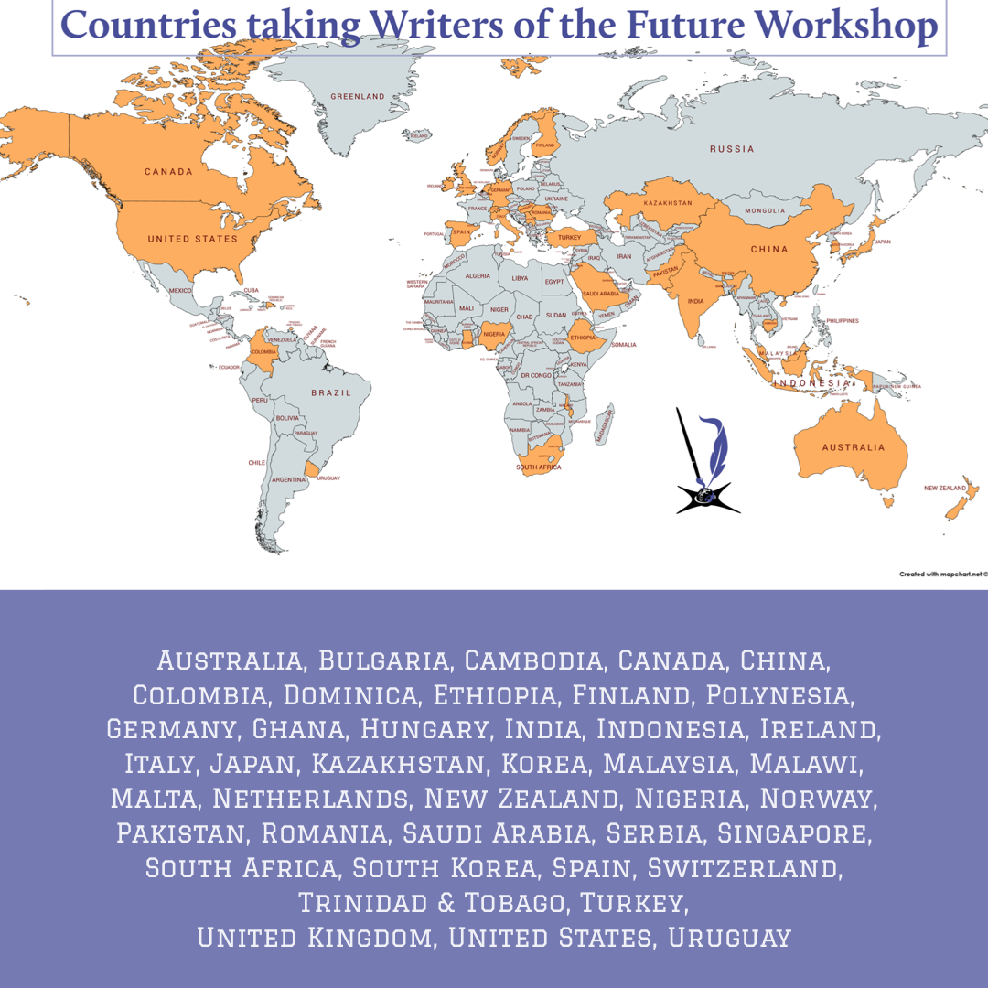 World map with countries highlighted that have people taking Writers of the Future Workshop