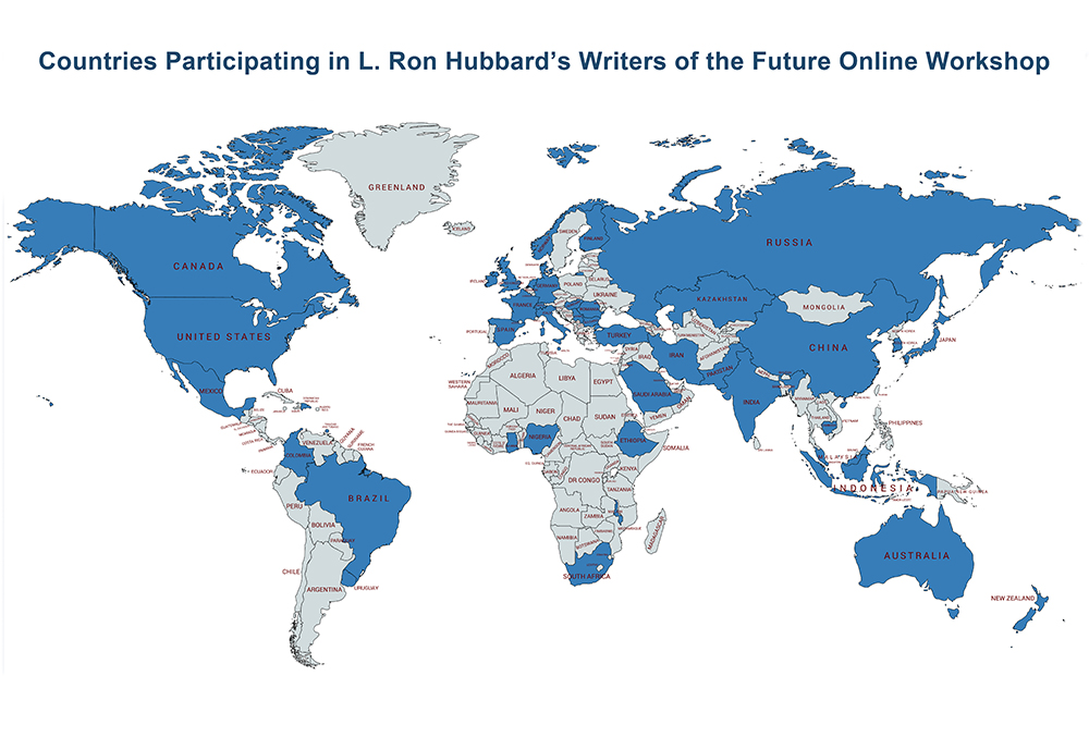 A map showing all 50 countries with people enrolled on L. Ron Hubbard's Writers of the Future Online Workshop