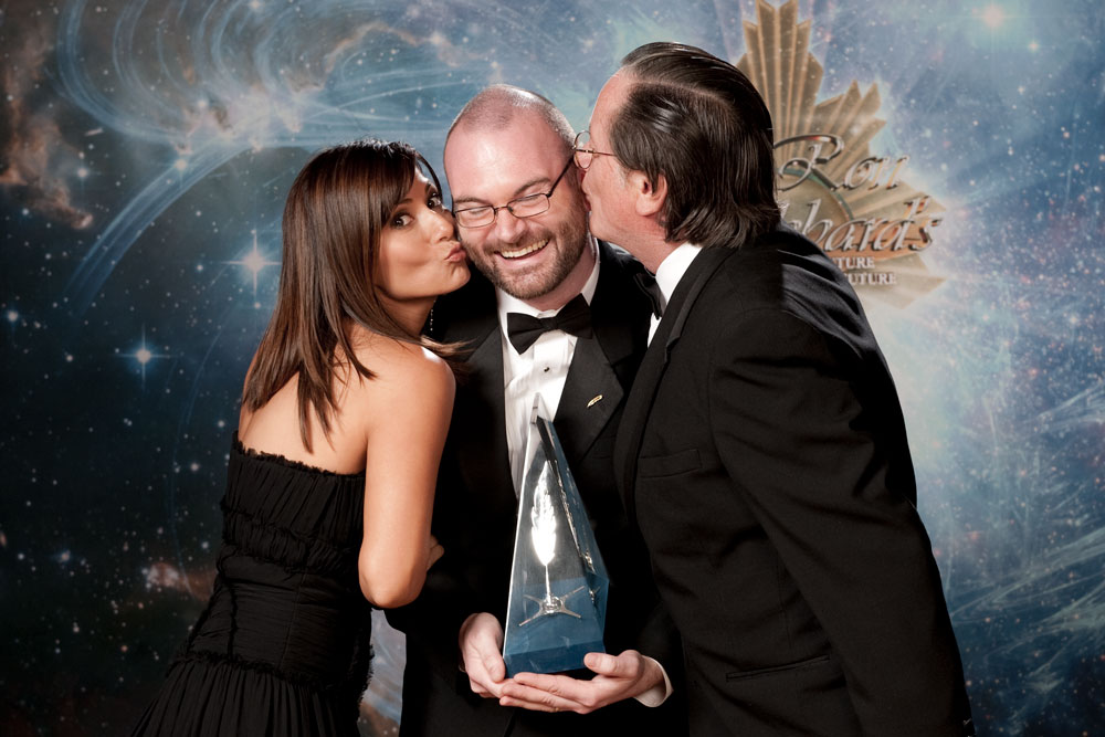 Actress Marisol Nichols and Tim Powers celebrate with Jason after receiving his award in 2010