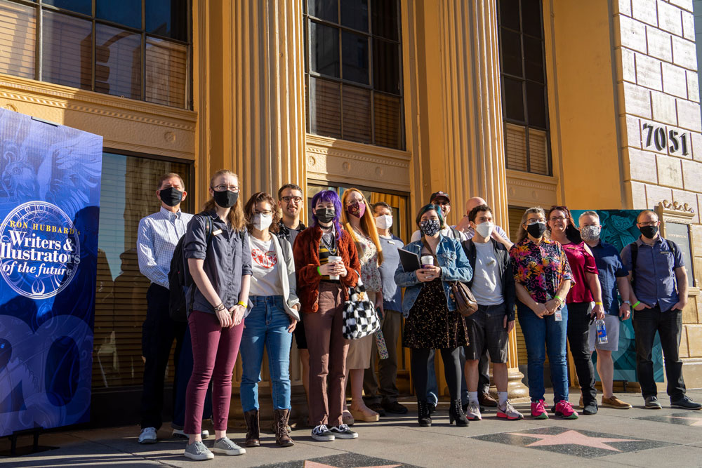Writer winners in front of Author Services building in Hollywood