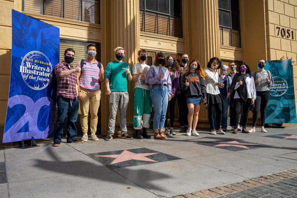 Illustrator winners outside Author Services in Hollywood