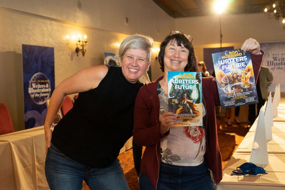 Echo Chernik and Jody Lynn Nye with Writers of the Future Vols 36 & 37
